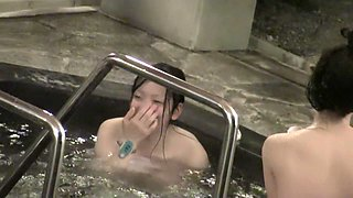 A group of naked asian girlfriends in the sauna pool nri070 00
