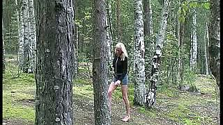 Watch a lewd whore with blond hair who is eager to pee outdoors