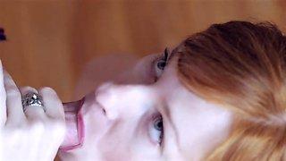 Horny redhead swallows every drop