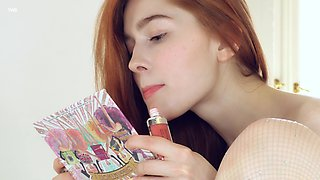 Redhead model Jia Lissa teases with her tittes and pink taco