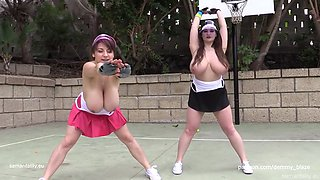 Busty tennis training