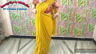 Mother wears a yellow saree