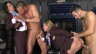 Sexy girls are naked on the plane, fucked in a foursome well