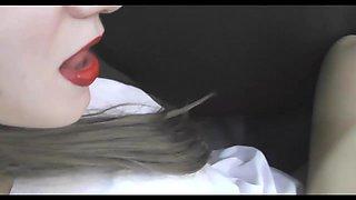 Red lipstick blondie handjob cumshot on pantyhose high heels