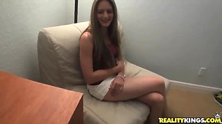 Jade Leshay is a natural whore on a casting at our office
