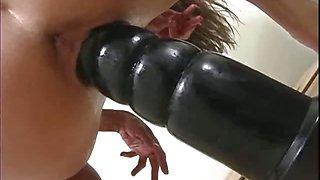 Alissa riding a thick brutal dildo