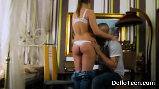 Pretty brunette Aza Puzo strips and shows her fantastic body