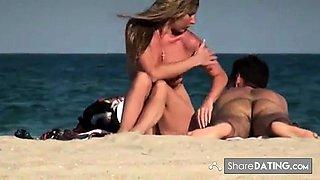 Nude Beach - Couples Smoking